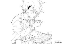 Бесплатная разукрашка для печати и скачивания Рей кушает и читает книгу - Обещанный Неверленд