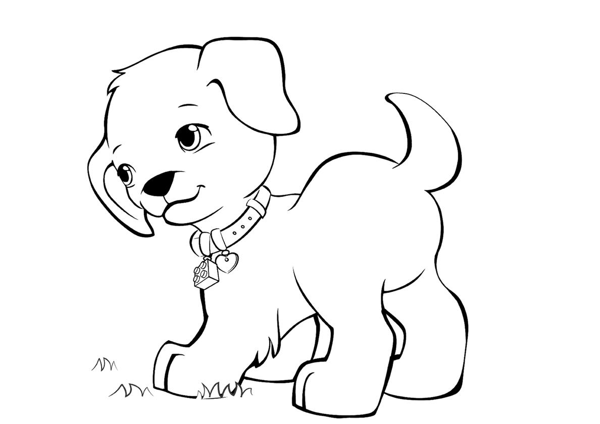 Раскраска Резвый щенок на прогулке распечатать | Собаки и ...