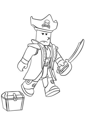 Roblox пират - Роблокс раскраска распечатать на А4
