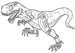 Робот-динозавр раскраска распечатать бесплатно на А4 - Роботы