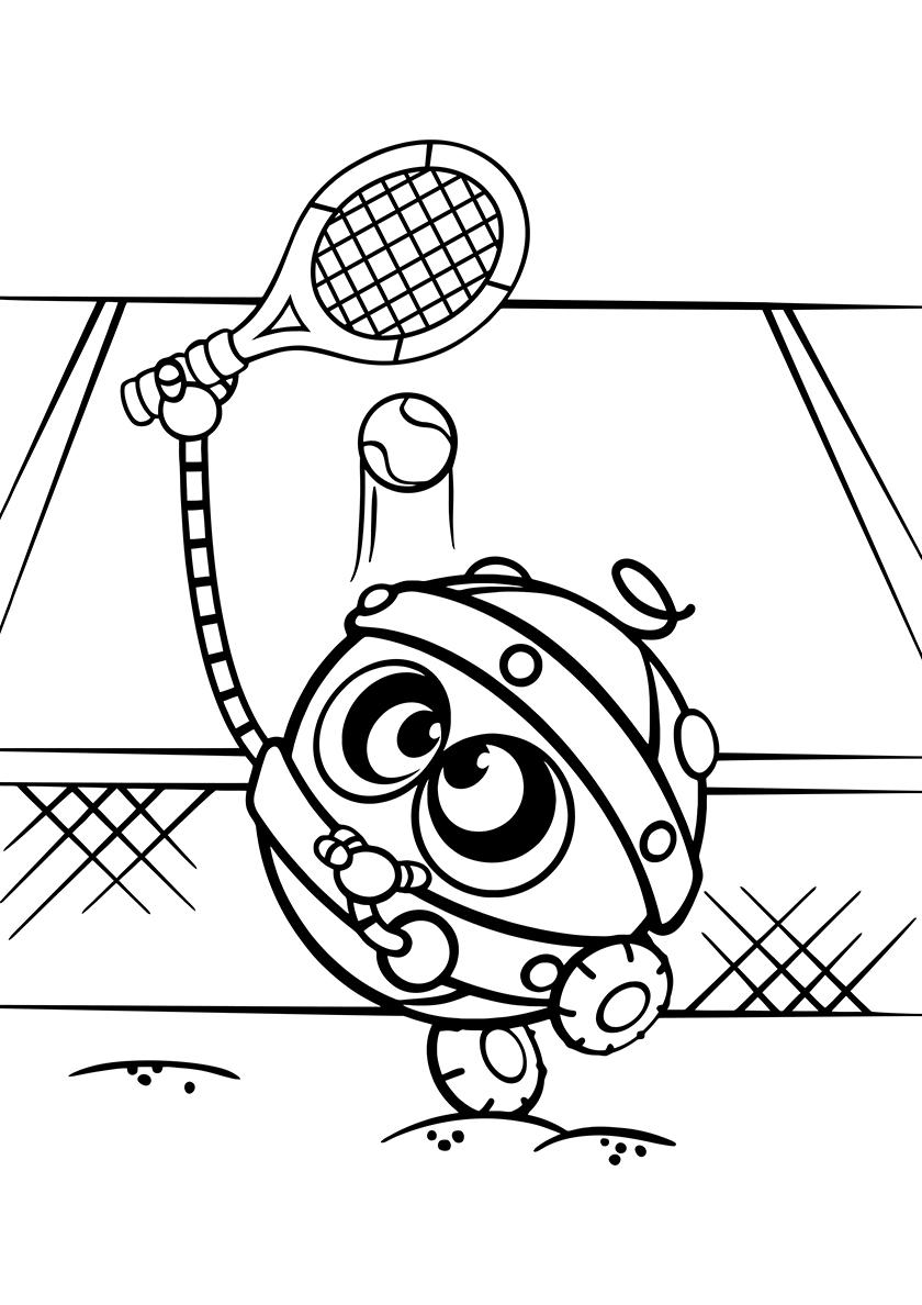 Раскраска Робот играет в тенис распечатать | Смешарики