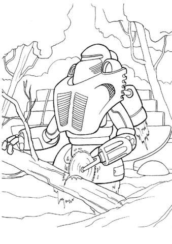 Робот-лесник разукрашка скачать и распечатать - Роботы