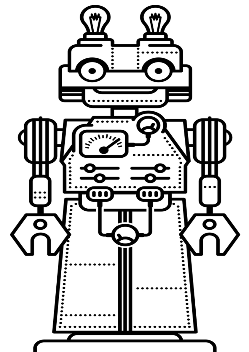 Раскраска Робот механический распечатать | Роботы