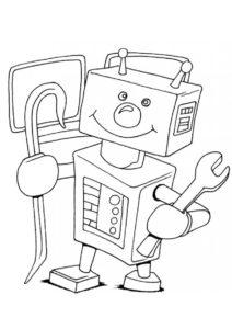 Роботы распечатать раскраску - Робот-механик