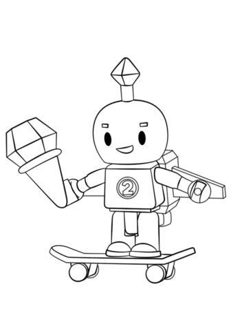 Робот на скейтборде (Роблокс) раскраска для печати и загрузки