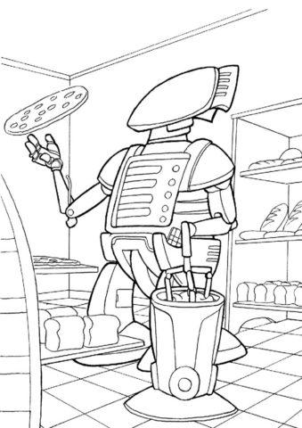Робот-пиццеола раскраска распечатать на А4 - Роботы