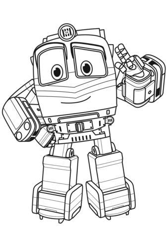 Бесплатная раскраска Робот-поезд Альф распечатать на А4 и скачать - Роботы-поезда