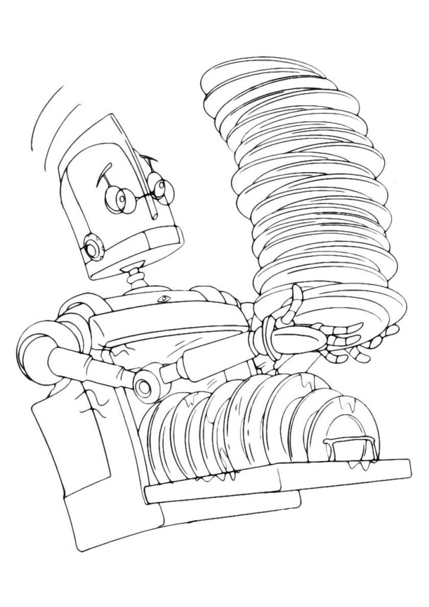 Раскраска Робот-посудомойщик распечатать | Роботы