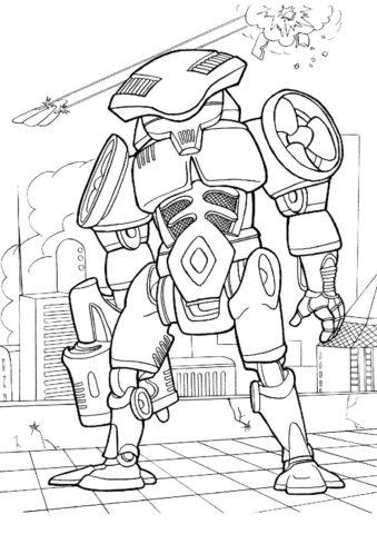 Разукрашка Робот-пропеллер распечатать на А4 - Роботы