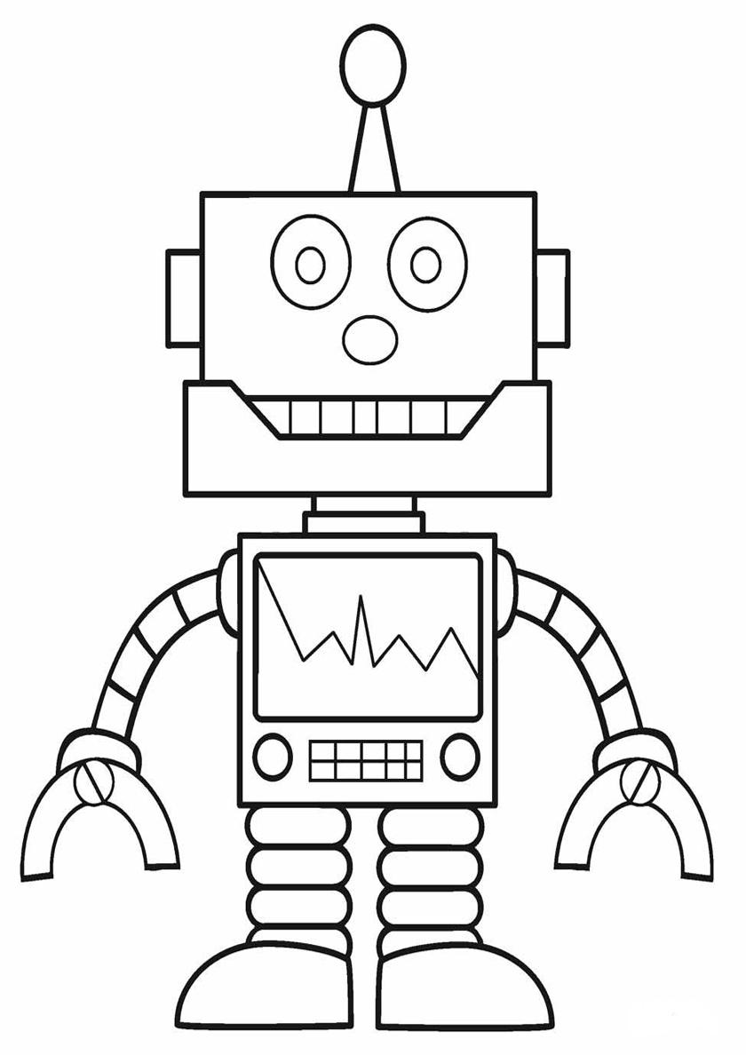 Раскраска Робот-ремонтник распечатать | Роботы