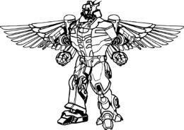 Бесплатная раскраска Робот с крыльями распечатать на А4 и скачать - Роботы