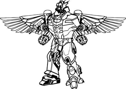 Раскраска Робот с крыльями распечатать | Роботы