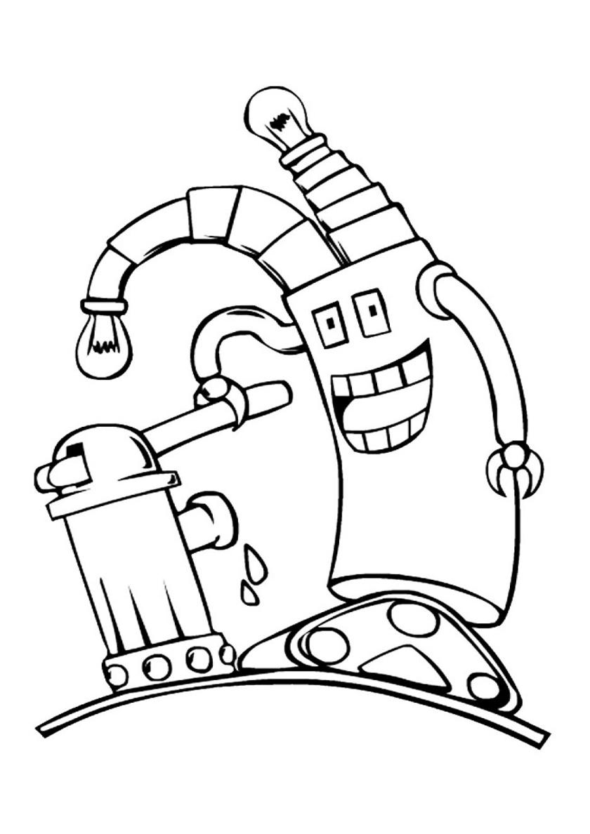 Раскраска Робот у гидранта распечатать | Роботы