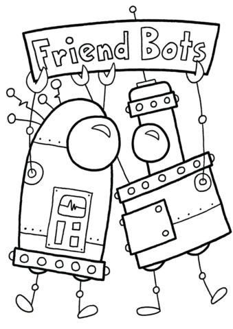 Роботы-друзья раскраска распечатать бесплатно на А4 - Роботы