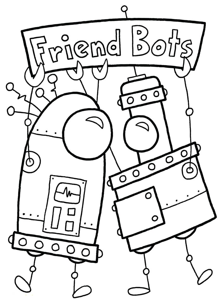 Раскраска Роботы-друзья распечатать | Роботы