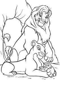 Рождение Симбы - Король Лев распечатать раскраску на А4