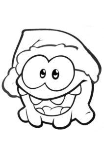 Рождественский Ам Ням раскраска распечатать бесплатно на А4 - Приключения Ам Няма