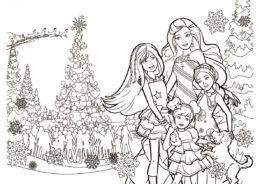 Раскраска Рождественское настроение распечатать на А4 и скачать - Барби