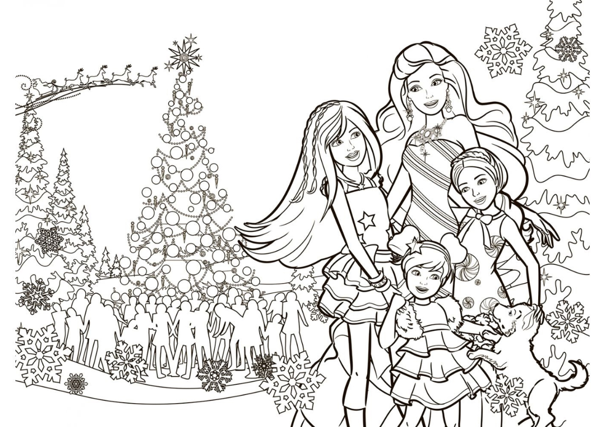 Раскраска Рождественское настроение распечатать | Барби