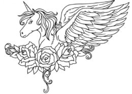 Розы и крылья распечатать и скачать раскраску - Единороги