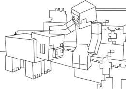 Ручная свинья (Майнкрафт) бесплатная раскраска на печать