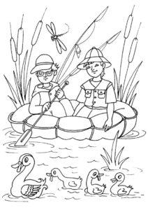 Лето распечатать раскраску - Рыбаки в лодке наблюдают за утками