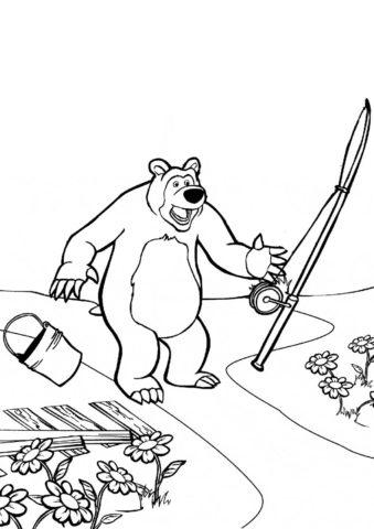 Бесплатная разукрашка для печати и скачивания Рыбалка не удалась - Маша и Медведь