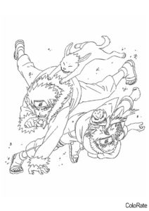 Раскраска С Кибой и Акамару распечатать на А4 - Наруто
