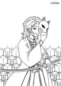 Сабито с катаной - Раскраски из аниме «Клинок, рассекающий демонов» бесплатная раскраска