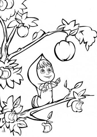 Бесплатная раскраска Самое сочное яблочко распечатать на А4 - Маша и Медведь