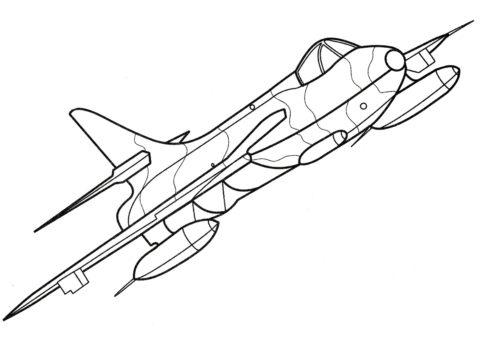 Самолет Хокер Хантер раскраска распечатать бесплатно на А4 - Самолеты