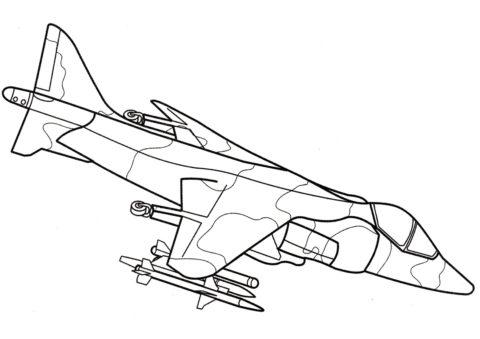 Самолет Хоукер Сиддли Харриер (Самолеты) разукрашка для печати на А4