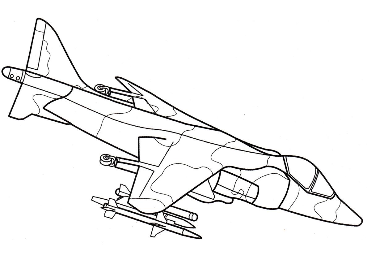 Раскраска Самолет Хоукер Сиддли Харриер распечатать | Самолеты