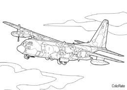Бесплатная раскраска Самолет ИЛ 76 распечатать на А4 и скачать - Военные