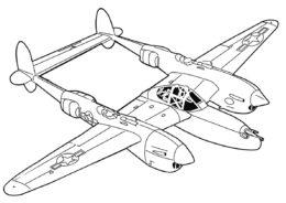 Бесплатная разукрашка для печати и скачивания Самолет Локхид P-38 Лайтнинг - Самолеты