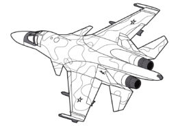 Самолет Су-34 Защитник (Самолеты) бесплатная раскраска на печать