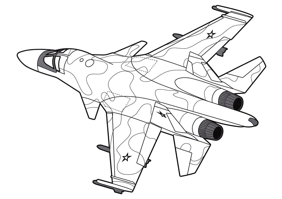 Раскраска бомбардировщик для мальчиков распечатать