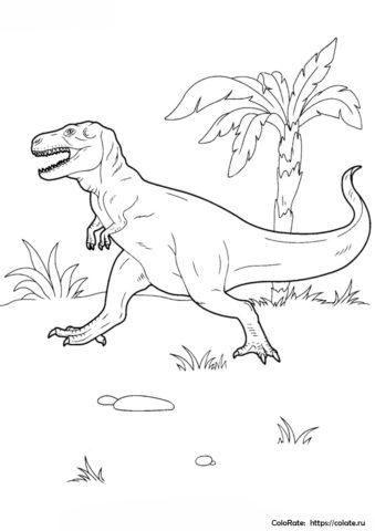 Самый опасный ящер - Динозавры раскраска распечатать на А4