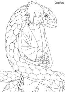 Саске и змея разукрашка скачать и распечатать - Наруто