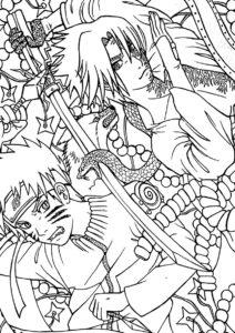 Бесплатная раскраска Саске против Наруто распечатать на А4 и скачать - Наруто