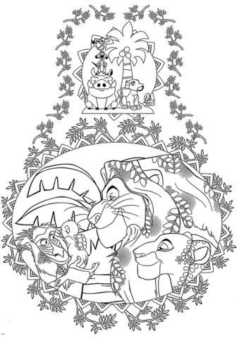 Король Лев бесплатная раскраска распечатать на А4 - Счастливые жители Прайда