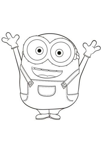 Миньоны бесплатная раскраска распечатать на А4 - Счастливый Боб
