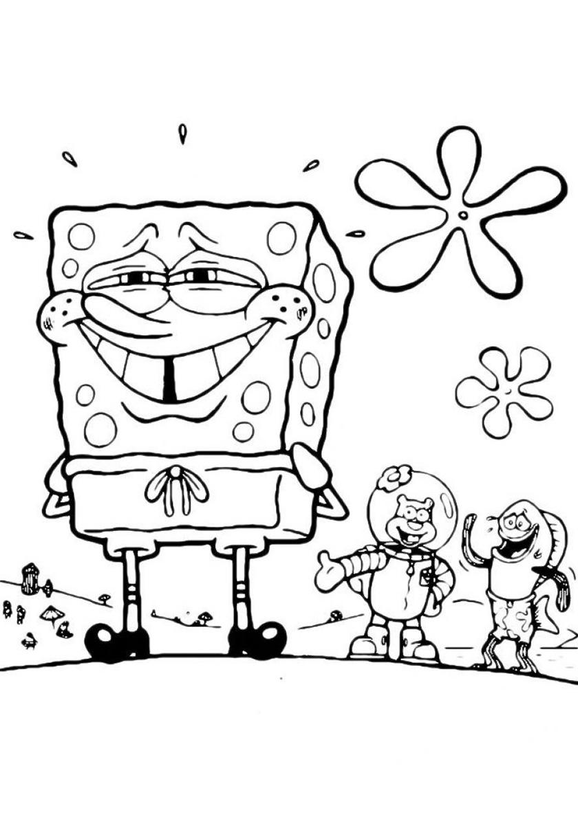 Раскраска Счастливый Губка Боб распечатать | Губка Боб