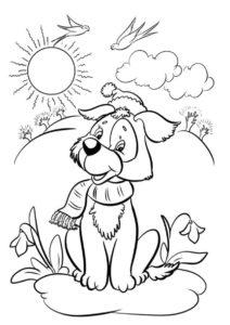 Весна бесплатная раскраска распечатать на А4 - Счастливый пес