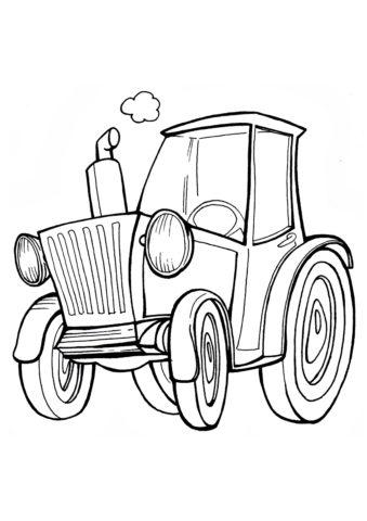 Раскраска Сельский трактор распечатать на А4 - Трактора