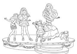 Семейное караоке бесплатная раскраска - Барби