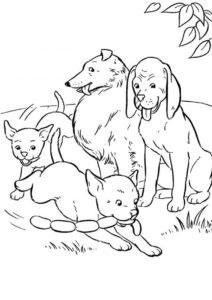 Семья собак (Собаки и щенки) бесплатная раскраска на печать