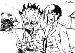Доктор Стоун бесплатная раскраска - Сэнку Исигами и Асагири Гэн
