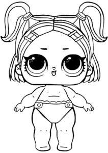 L.O.L Маленькие сестренки распечатать раскраску - Сестренка куколки Спринт