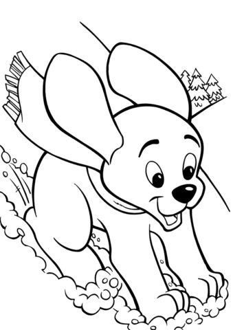 Раскраска Щенок спускается с горы распечатать на А4 - Собаки и щенки